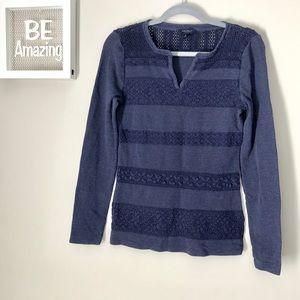 5/25 Luck Brand Navy Blue Long Sleeve Crotchet Top